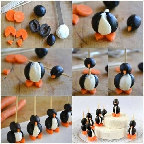 Cute little penguins made from olives carrots and Philadelphia!🔱