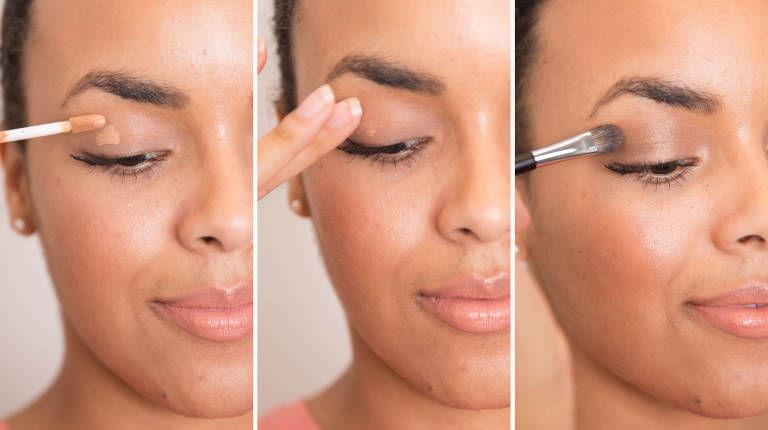 To prevent your eye shadow from falling off your lid and settling in the creases, prime your eyelids first with a dab of concealer.