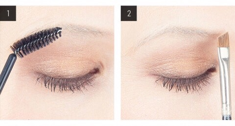 1. Comb through your eyebrows. Use a spoolie brush to shape your eyebrows into a slightly upward direction. 2. Determine where your eyebrows begin. Holding a slant-tip brush vertically along the side of your nose, line it up with your brow to figure out where you should start filling in your arches.