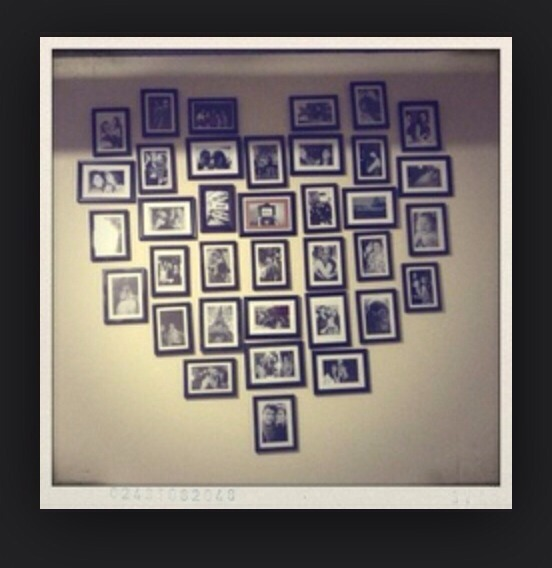 Create a heart collage using hang-on-the-wall frames. This looks great any size
