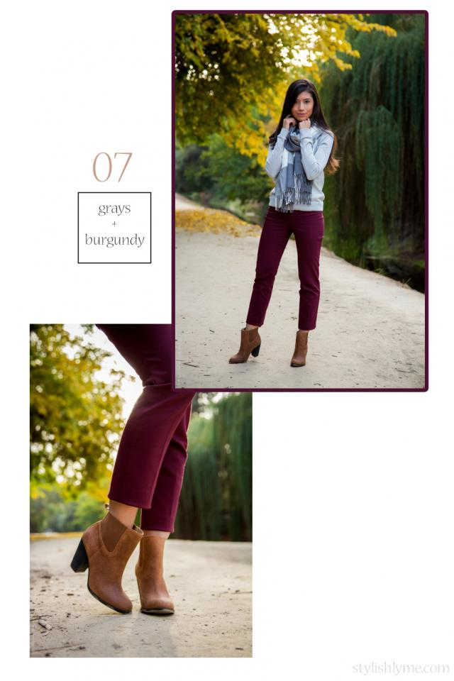 Cozy for the office with cropped burgundy trousers and matching gray knits Boots can be appropriate for the office when worn with work appropriate clothing. Pair ankle boots with cropped trousers and a sweater, if it's very chilly then add a scarf.