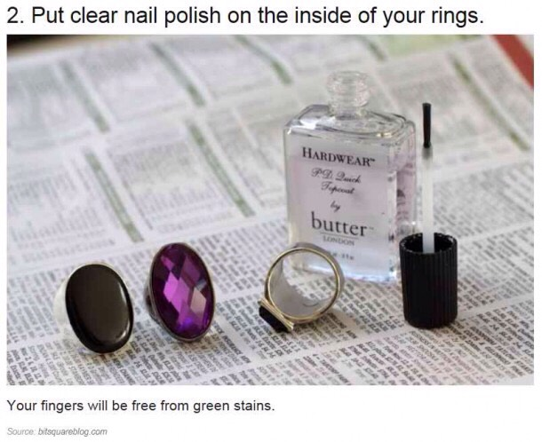 Do your rings always leave a green maRk on your finger after wearing it for long periods of time?  Put a coat of clear coat nail polish over the part that turns your finger green.