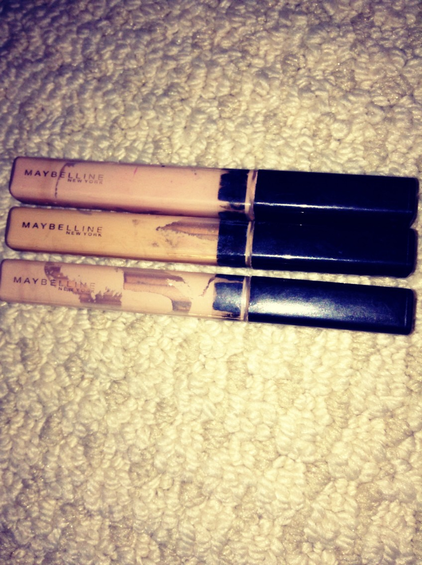Maybelline concealers found at the drugstore.