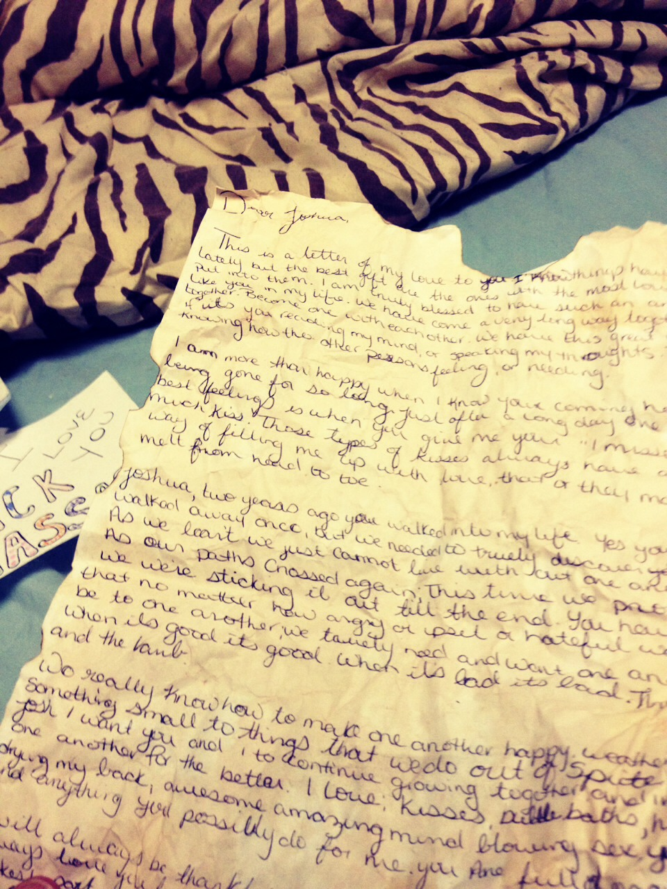 Write them a love letter; add a vintage look, I used vanilla from my cupboards and dabbed it on; adds an amazing smell too!