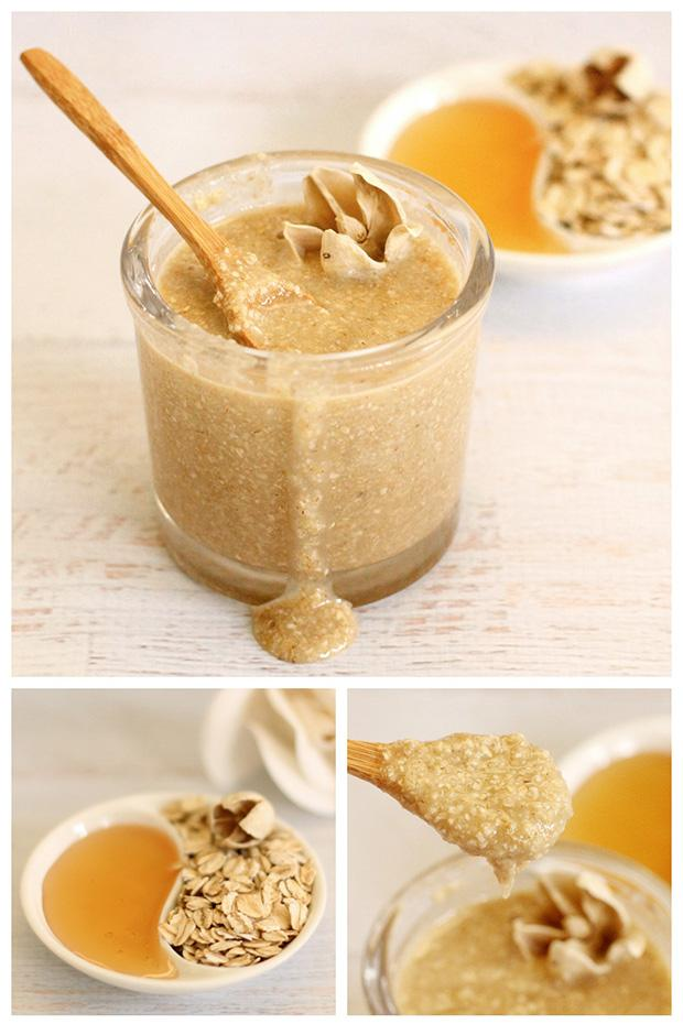 Oatmeal Honey Scrub Recipe:      Two parts oatmeal (ground up finely in a blender or food processor)     One part honey     One part sweet almond oil (or coconut or olive oil – which ever you prefer)
