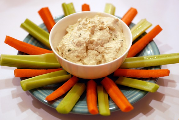 Dress up your dip. When it comes to what you can add to a basic dip, the sky's the limit. Creamy, strong-flavored cheeses — like blue cheese — work extremely well with your standard sour cream and mayo. And in a pinch, use chopped frozen spinach, jarred artichoke hearts or roasted red peppers.