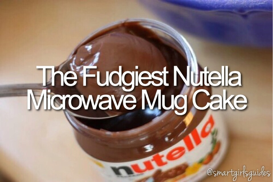 Ingredients: 4 T flour 4 T sugar 3 T milk 2-3 T Nutella Tiny pinch of salt  Mix ingredients together in a mug. Microwave for 1-1:30 minutes (depending on your microwave and how you want it). Let cool for 5-10 minutes. Enjoy! You can even top it with powdered sugar or whipped cream!