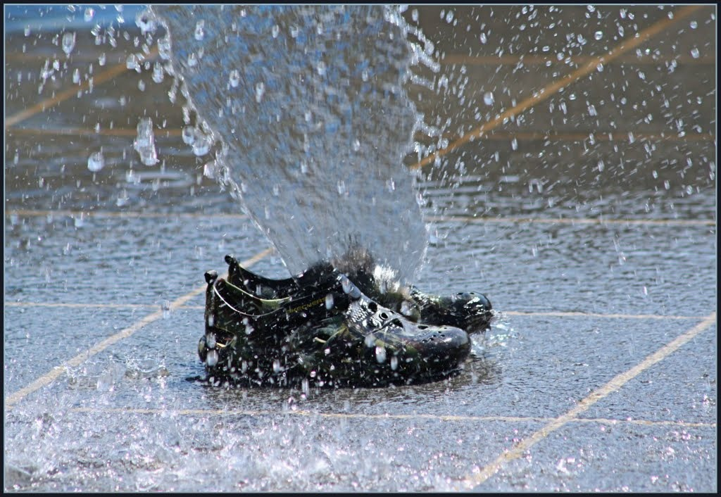 Put newspapers or soft paper in your wet shoes. The moisture will be absorbed very quickly.