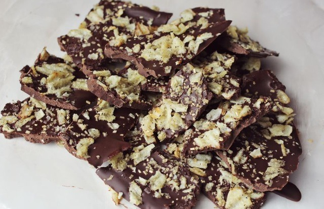Once the chocolate has hardened break the bark up into manageable pieces. Try to evenly distribute candies within every bite. You can store candy bark in an airtight container in the refrigerator for up to a week. Or you can wrap it in little gift bags and pass them out to office friends or family m