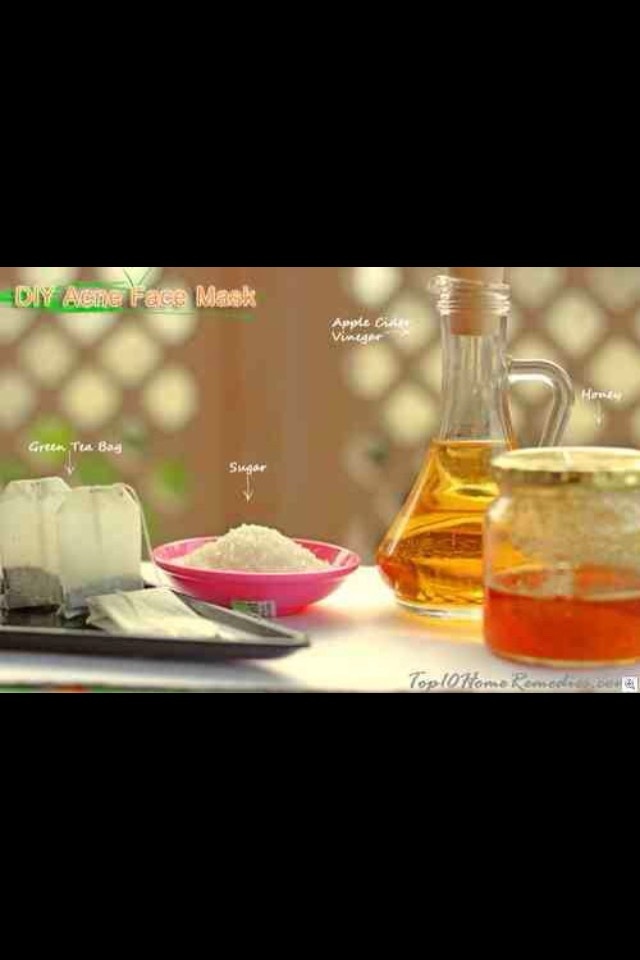 Apple cider vinegar acne face mask scrub   Things you will need:  - Apple cider vinegar  - green tea - honey  - sugar  - a teaspoon  - a bowl