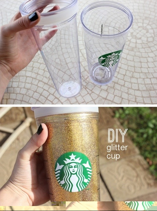 12. DIY Glitter Cup Wondering how in the world she did that? It's a double-walled cup! Don't worry, you won't be drinking the glitter. Starbucks sells them, but you can also find them at most department and home stores. I'll bet you could also do this with photos. Hmmm.