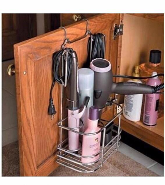 Put all your hair products in a basket hanging on a door!