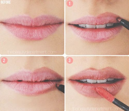 20. The Lip Cheat As it turns out, we weren't all blessed with Angelina Jolie's lush lips. Now, there are a few tricks to making them appear larger (a glossy lip being one), but for a more dramatic effect, don't be afraid to line your lips just outside of your natural line.