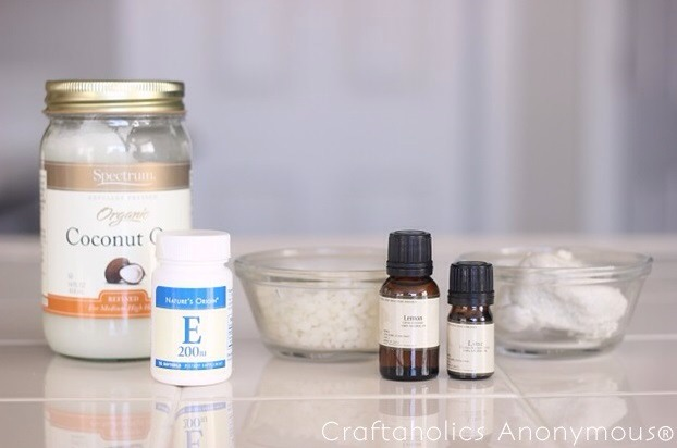 Ingredients;  Makes 3 2″x3″ bars 2 oz. coconut oil 2 oz. shea butter (or cocoa butter) 2 oz. bees wax pellets 2 capsules vitamin E essential oils for scent (optional) soap mold (plastic or silicone) microwave safe bowl (disposable works great too)  -You will need equal ratios for this recipe!