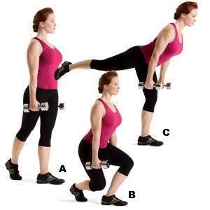 MOVE 5 Curtsy Squat Rear Leg Lift  SETS: 3REPS: 12 to 15REST: 30 seconds Works core, hips, glutes, hamstrings, and quads