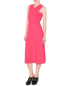 & Other Stories Cutout Dress. With its flowing A-line skirt and pretty cutout neckline, this punchy pink dress is well-suited for a daytime or outdoor ceremony. Get glam with statement earrings and flirty heels.  To buy: $100, stories.com.