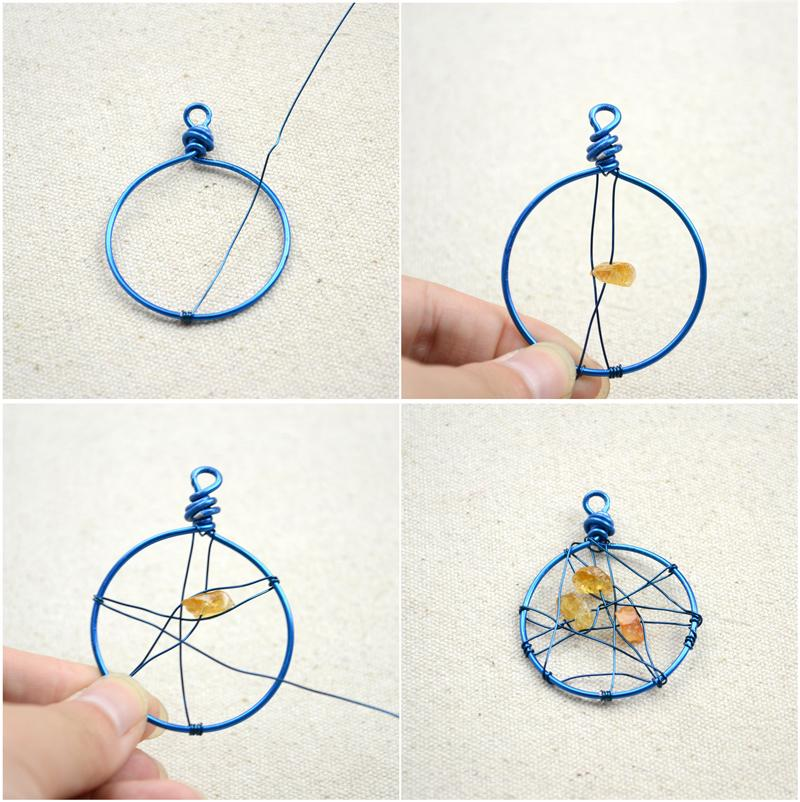 1. Take a fairly long 0.5mm piece of brass wire, and fix one end on the frame by coiling it around for several turns; 2. Keep wrapping the wire around the circle while adding beads in the center of the dream catcher; 3. Fix the end firmly by creating several coils and you're done the main part of