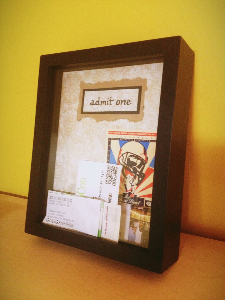 A cute way to display all your old ticket stubs!  Easer like :$