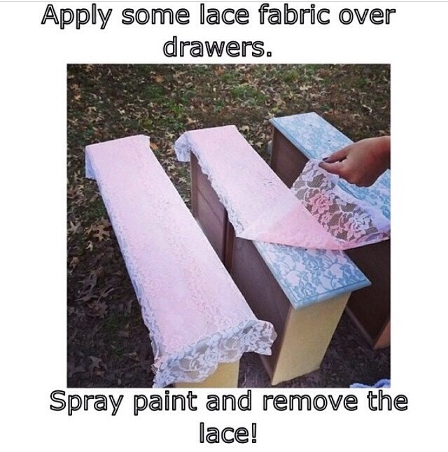 This is really cute and it's cool because you can use any lace or paint that you want!