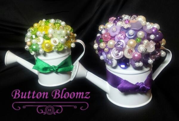 Beaded watering cans. These can be created in lots of other colours to suit your wedding theme. Please visit www.buttombloomz.com or find me on facebook at www.facebook.com/button.bloomz1
