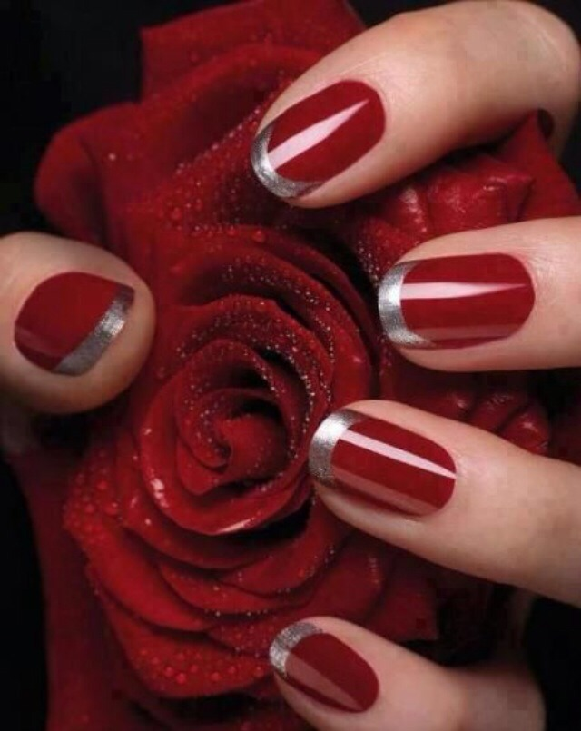 Who says the french tip always has to be white? For this look, paint your nails red as you usually would. Once it dries, create a silver french tip using manicure stickers or a strip of tape for a straight line across.