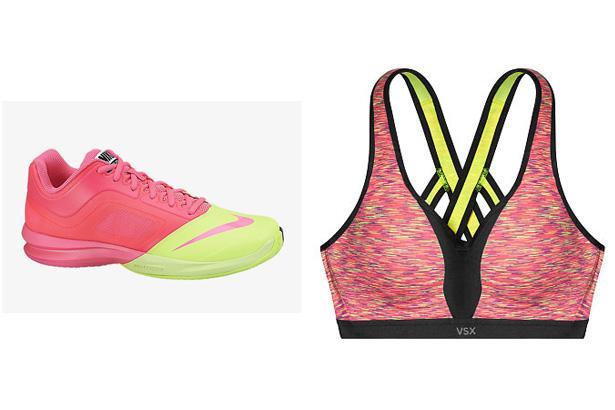 Nike Dual Fusion Ballistec Advantage Tennis Shoes, $95 at Nike  Incredible by Victoria's Secret Strappy-Back Sports Bra, $57.50 at Victoria's Secret