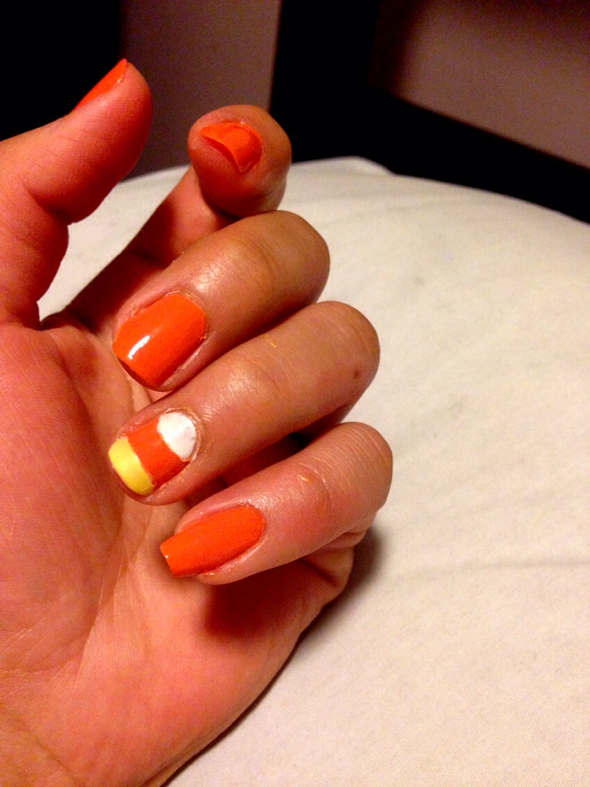 You can make one nail or all nails candy corn.