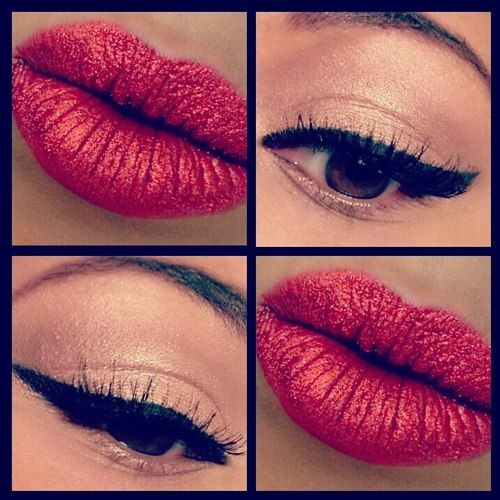 this reminds me of valentines day! this is cute with the red shimmery lips and the golden eyes.