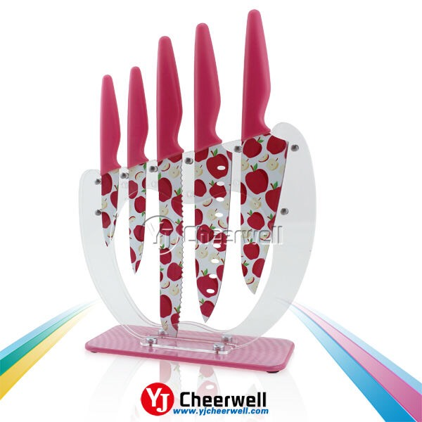 Decorated Knives Take your cooking knives set up a notch with custom design on the blades.  http://m.alibaba.com/product/1853222543/decorative-kitchen-knife-set.html