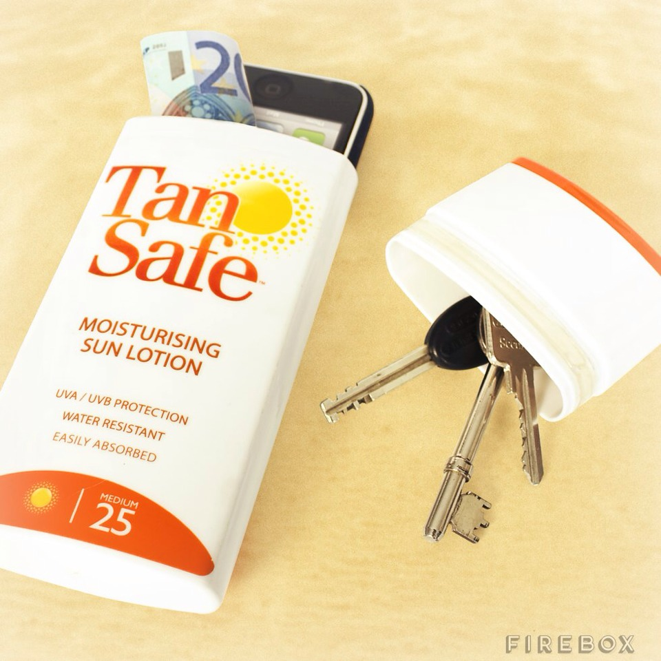 Clean out a lotion bottle to use as a safe spot for your money, keys, etc.!