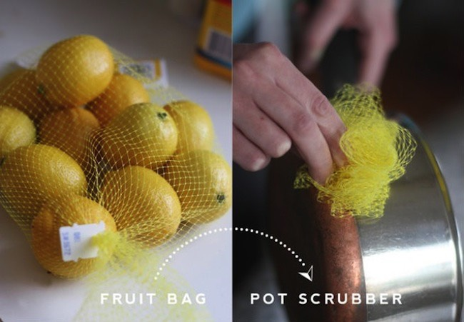 Fruit mesh bags can be turned into excellent DIY pot scrubbers.