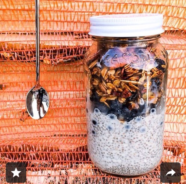 Homemade granola adds the perfect crunch to a rich and smooth bowl of chia seed pudding. Storing your pudding in a jar also makes it an easy breakfast to take on the go!