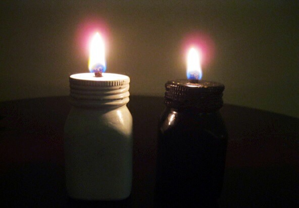 Oil lamps are very simple and easy to make. I have used old bottles to make them, you can also use old  mason jars. They can be placed indoor or outdoor and a great way to upcycle old bottles and jars