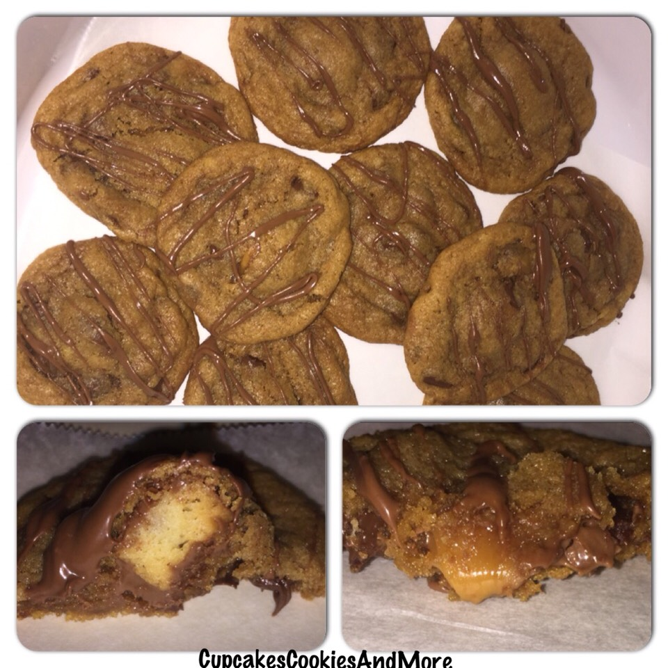 Chocolate chip cookies stuffed with a Twix minis and drizzled with chocolate.