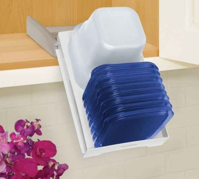 This food container organizer that pulls down for easy access. Trying to get one container and having them all fall on the floor is not as fun of a game as it sounds. ($19.59)  http://www.organize.com/storastack-cabinet-organizer