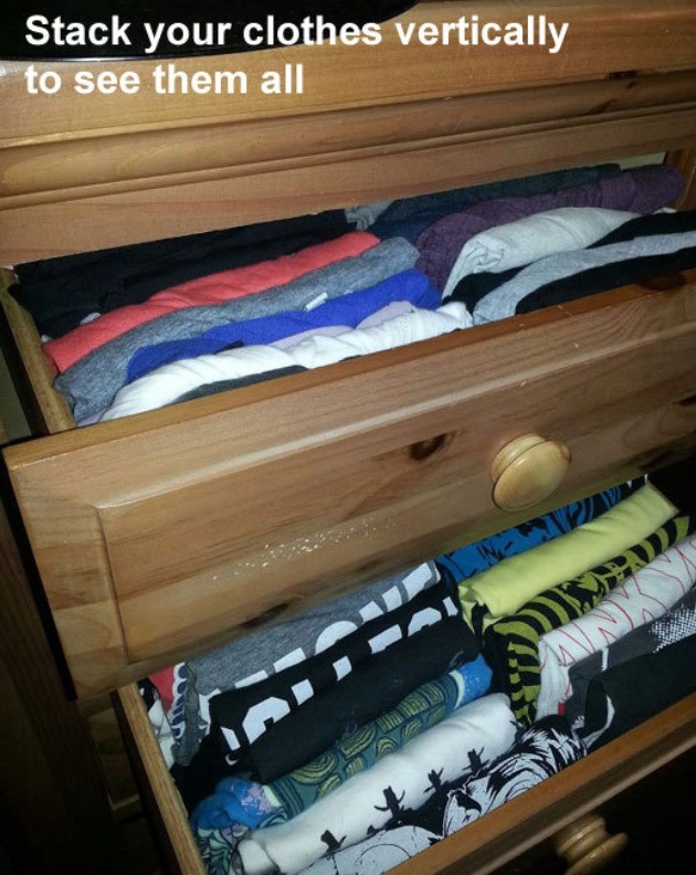 Such a simple idea! By stacking your clothes vertically in your drawers, you can get a better sense of all your wardrobe possibilities. Thanks for looking. Please don't forget to like and follow. Click my profile pic to see all my tips.