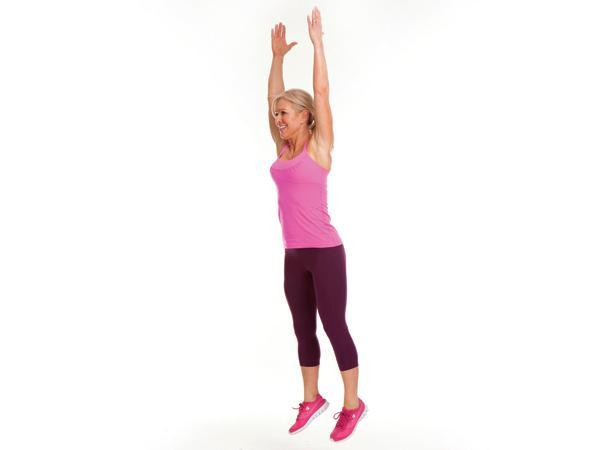Week 2 Power Move: Squat Jump  Targets: legs, butt (and boosts heart rate!)  Start in low squat, knees behind toes and arms extended by sides. Jump up, straightening legs and lifting feet off floor while extending arms overhead. Land softly, lowering into next squat.