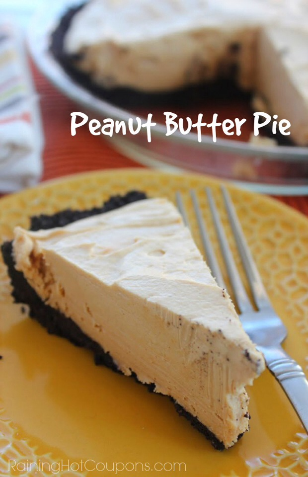 Yummy! I love Peanut butter pie…actually I love anything with peanut butter and if you're like me then you'll love this next recipe. This recipe uses Oreo cookies for the crust and delicious peanut butter on the inside…Enjoy!