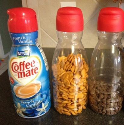 You can reuse the creamer containers, and they have an awesome spout.  Use with sugar even, or anything else!  Please like and share!  <3