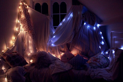 3. Make a fort! This might sound like a little kid thing but i swear no. String around lights, throw in a bunch of pillows and blankets, and once you find something to hold it up just throw a sheet over it (like a tent) and there ya goo!