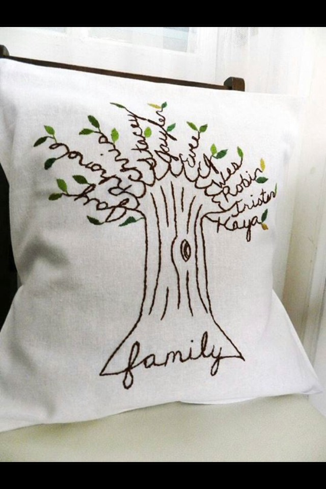 Family tree on pillow . which is always with you in your room