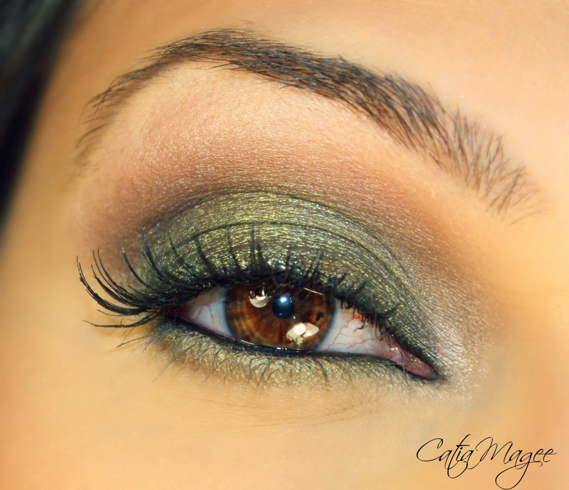 Getting the gist of it: Apply a small amount of a darker shade of green to contour/ outline the edge of the eyes.  Blend in.  Apply the light shade of green under our bottom lashes, and apply the darker shade towards the outer corner.