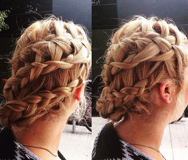 Waterfall and French braids intertwined together at one side