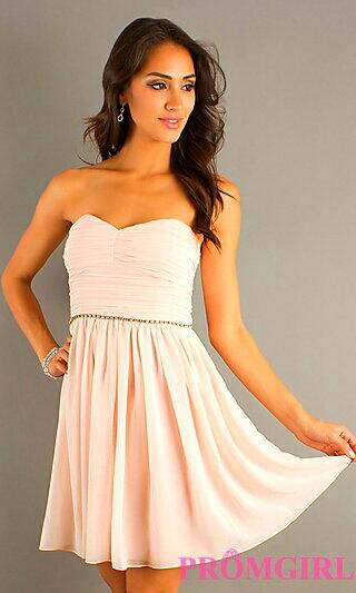 Strapless Cream Pleated Dress