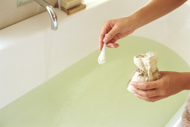 Add some Epsom salts to your bath as a cleansing way to relax at the end of a busy day.