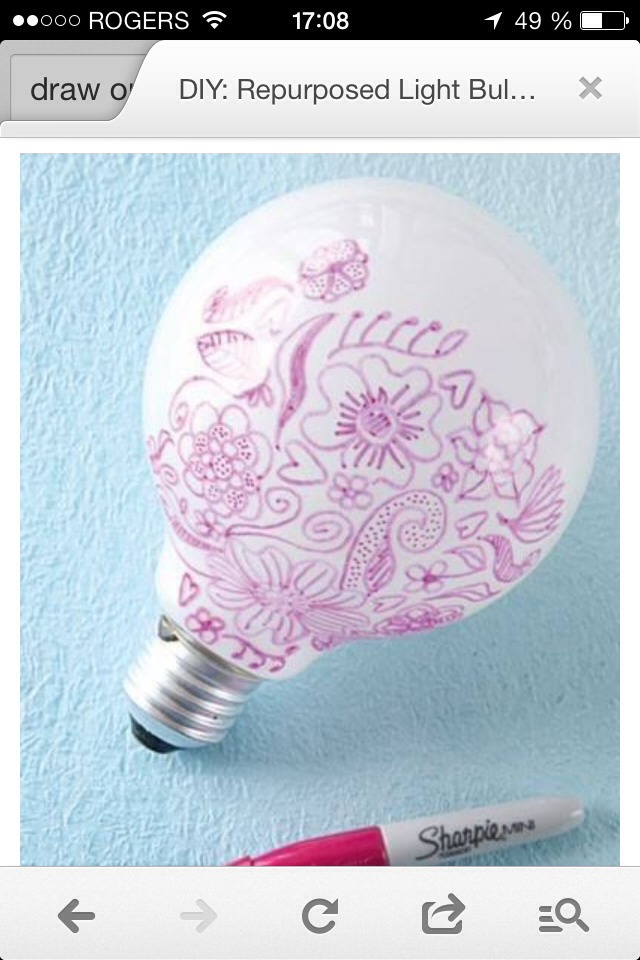 Drawing on a light bulb (with a sharpie) makes images on walls! Really cool ambiance!