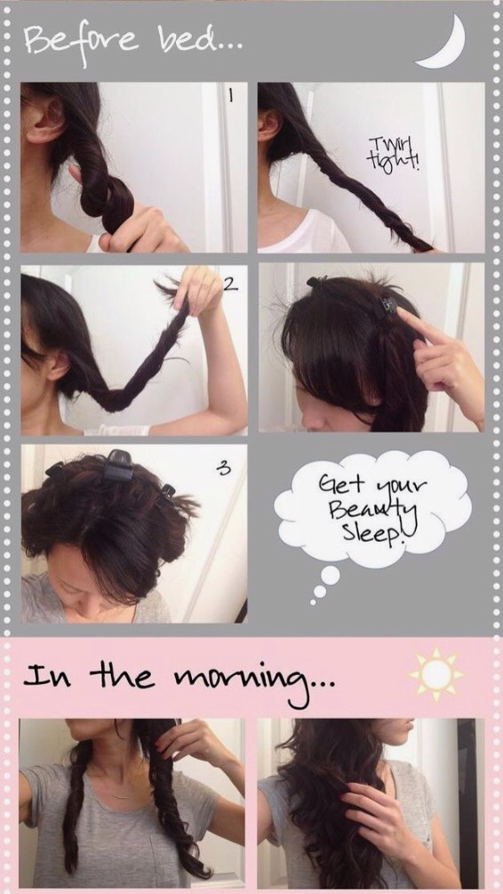 Twist your hair into one or more buns, for beautiful flowing curls.