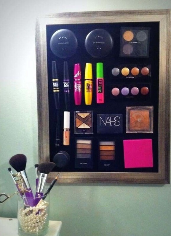 Use a magnet strip to keep your make up all together