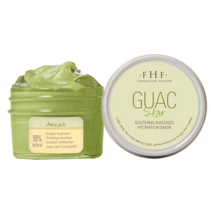 FARMHOUSE FRESH GUAC STAR SOOTHING AVOCADO HYDRATION MASK | This face mask is packed with avocado butter, oil, + extract for major moisturization. You can even keep it in the fridge to use on a super hot day.  BUY IT | $18, Amazon