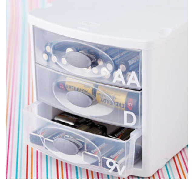 Everyday household items are tricky to store and sometimes hard to find.  Stackable plastic drawers are a great solution for storing your everyday items such as batteries, light bulbs, band aides, etc..  Please don't forget to like.